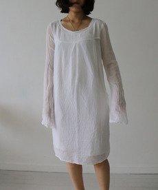 PLEAT COTTON GAUZE DRESS