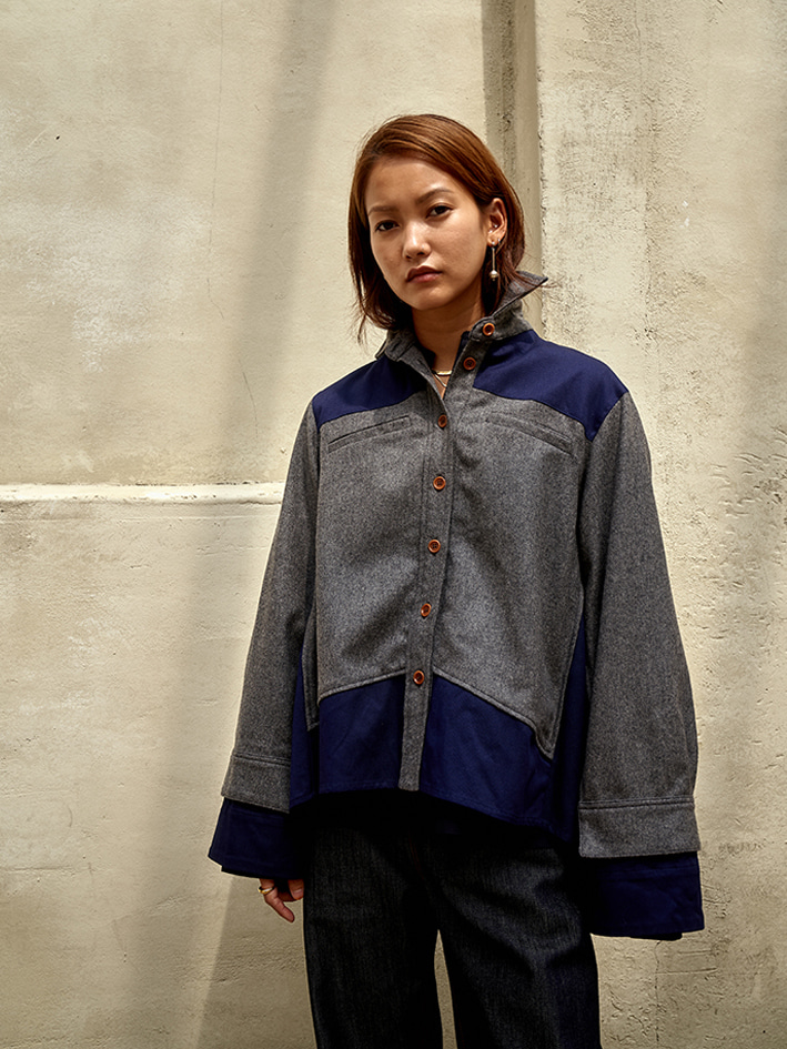 BABY TRENCH SHIRT - grey check