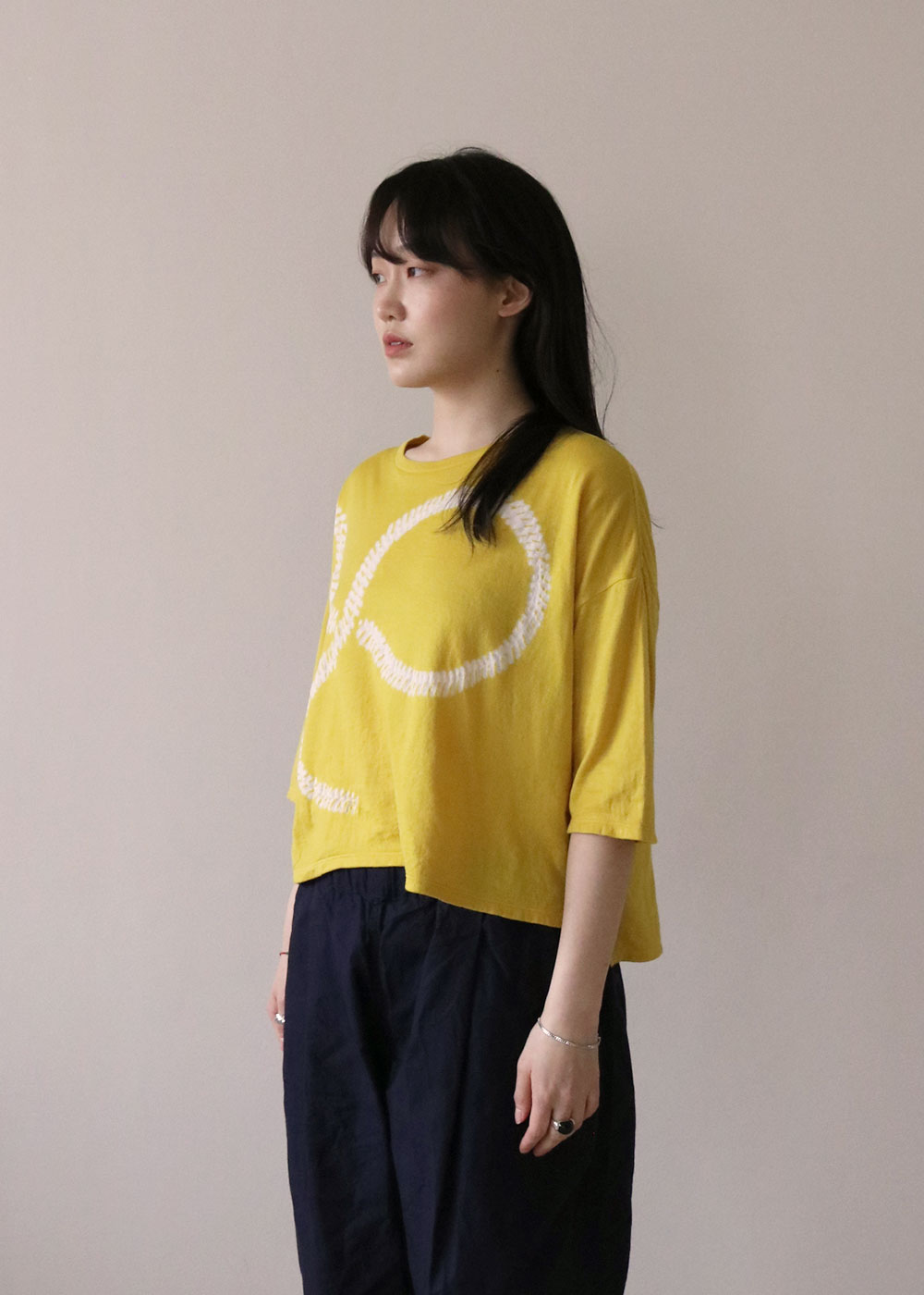 3/4 SLEEVE WIDE T-SHIRT - mustard yellow/white