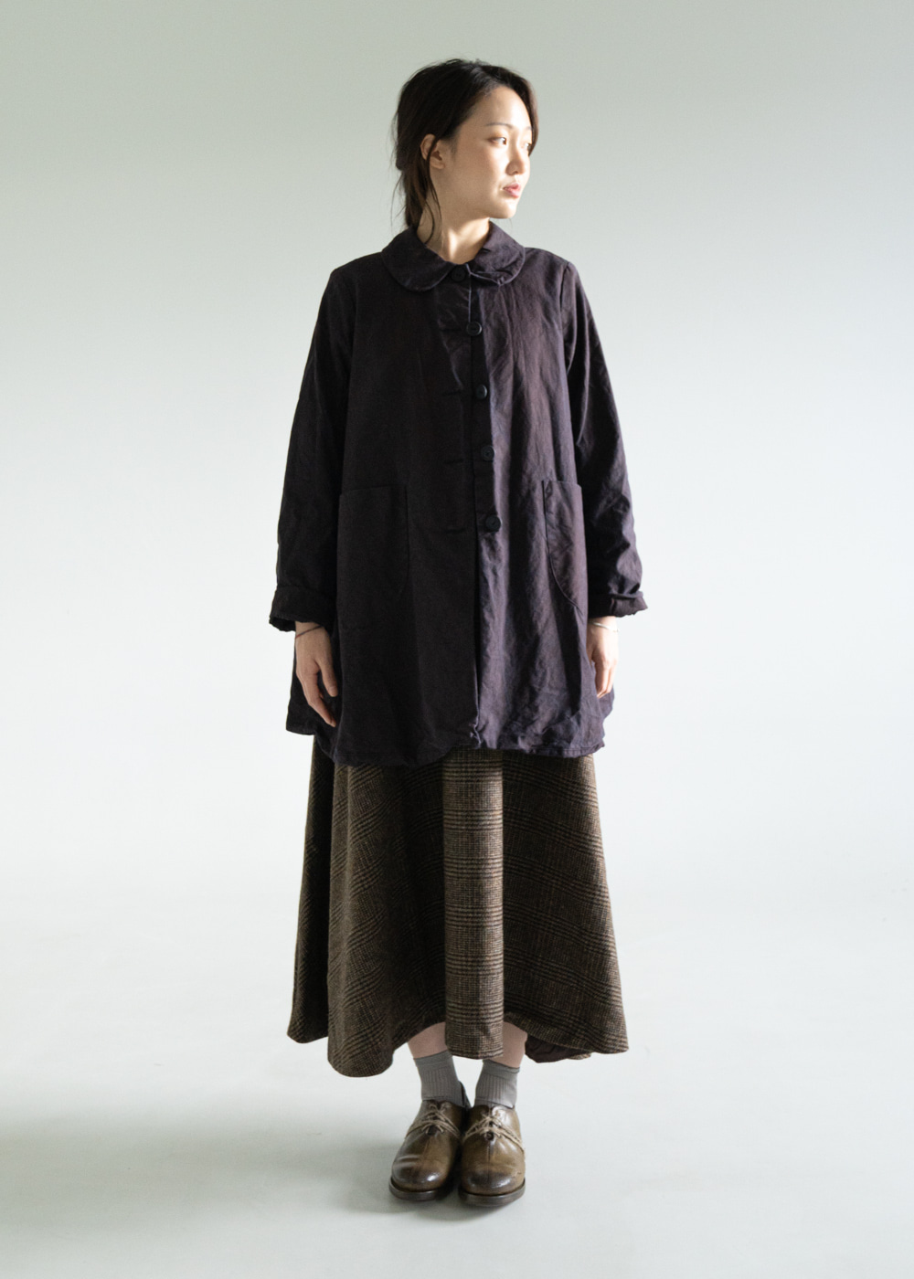FOG LONG COAT - plum